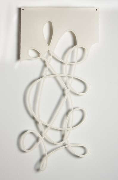"String Theory-WD 2, 10""x24"", paper, thread, encaustic"