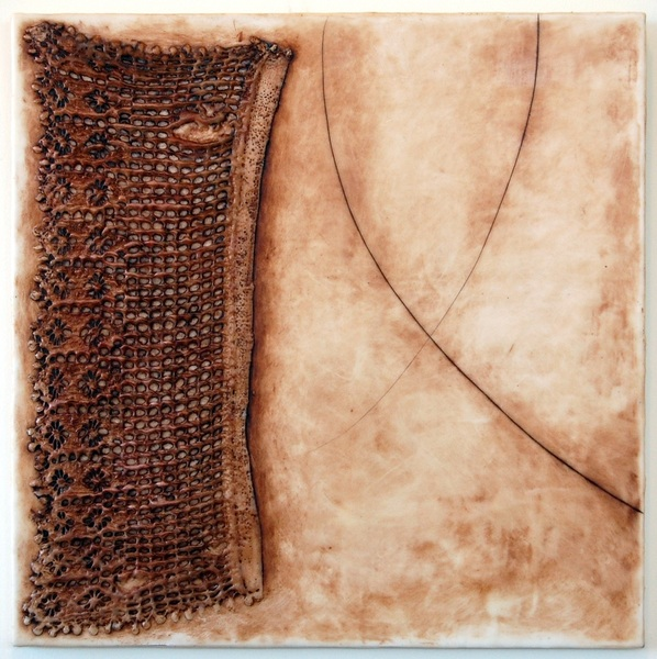Mending, 20x20x1, encaustic, lace, oil stick on birch