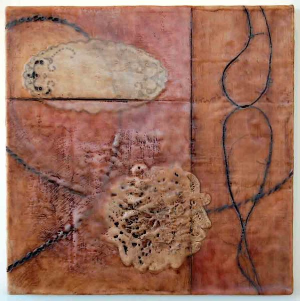 Together, 18x18x1, lace, encaustic, oil stcik on birch
