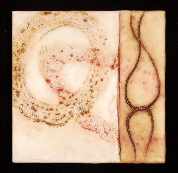 "Linked, 0""x10""x1"" oil, encaustic on birch"