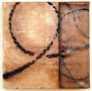 "Un-Bound 3, 9""x9""x2"", oil stick and encaustic on birch"