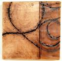 "Un-Bound 1, 9""x9""x2"", oil stick and encaustic on birch"