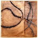 "Un-Bound 2, 9""x9""x2"", oil stick and encaustic on birch"