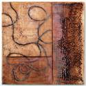 Intertwined, 18x18x1, encaustic and oil stick on birch