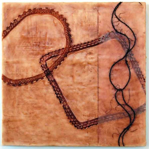 Linked 3, 20x20x1, encaustic and oil stick on birch
