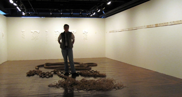 "The Bitter End, installation view, 50'x3"" rope, thread, beeswax"