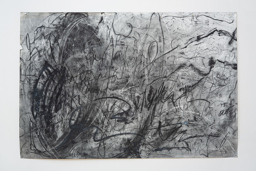 Asemic Hope 6, 44x60, charcoal, gesso, graphite on paper