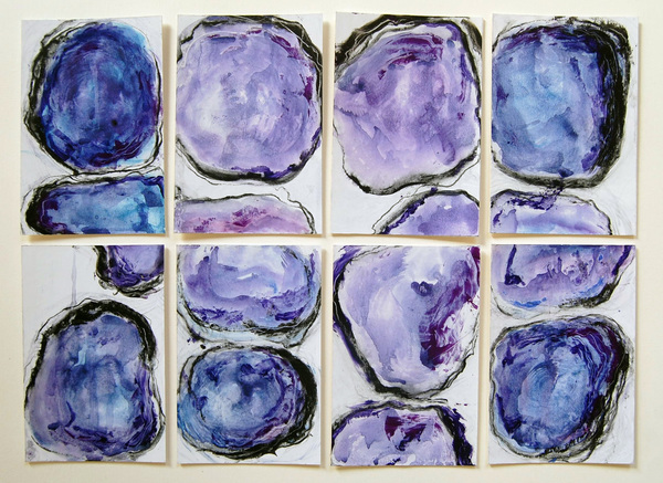 Mitosis Blues 1-8, 12x16, graphite, oil stick, watercolor on paper