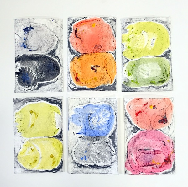 Six Mini Mitosi, 13x13, encaustic monotype, graphite on paper