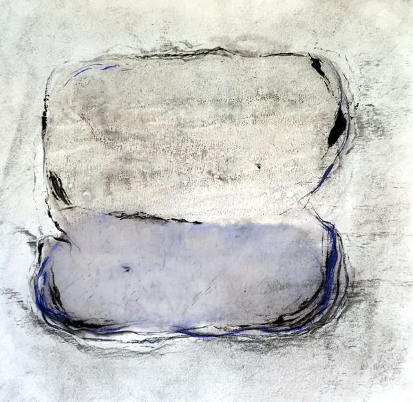 M.BG-2, 19x18, encaustic monotype, graphite on paper