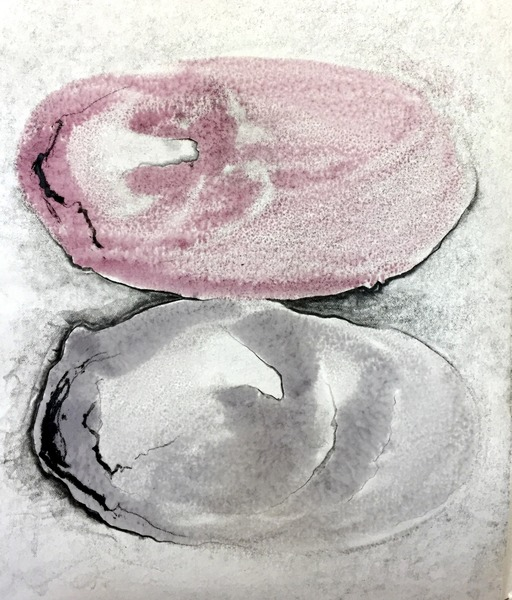 M.PG-1, 12x10, encaustic monotype, graphite on paper
